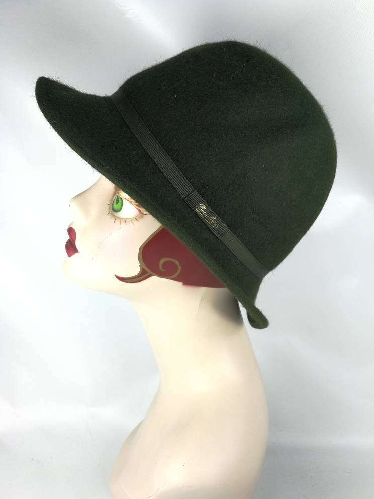 Borsalino Water repellent fur felt vintage hat woman man green  5570585a80fb