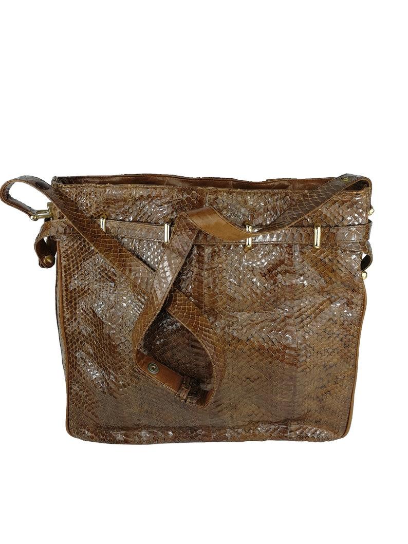 Python bag vintage bag 60s bag crossbody reptile serpens sac python bag vintage year 60 brown