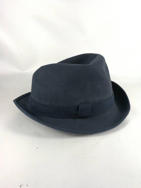 Fedora felt dress hat 1970s vintage hat man Blue M
