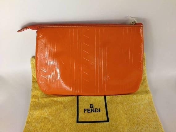 Vintage Fendi bag handbag clutch green with cover dust bag