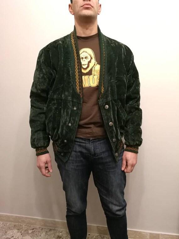 80s hipster bomber man coat jacket green velvet vintage giacca bomber da uomo velluto verde vintage anni 80 made in italy blouson homme vert