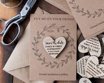 Save The Date, Save The Date Magnets, Save The Date wedding Magnets, Save The Date Cards, Wooden Save The Date Magnet, Wood Heart, Hearts