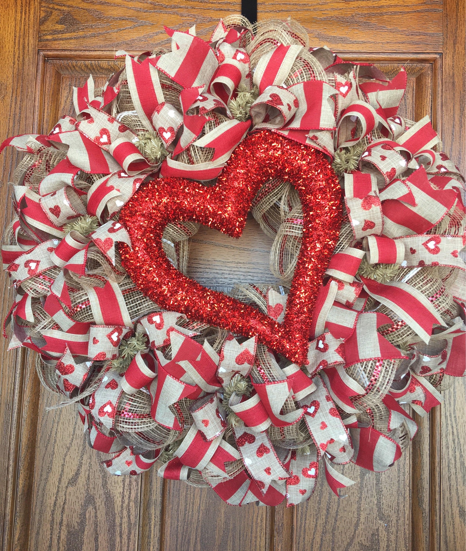 Happy Valentine S Day Deco Mesh Wreath Heart Wreath Etsy