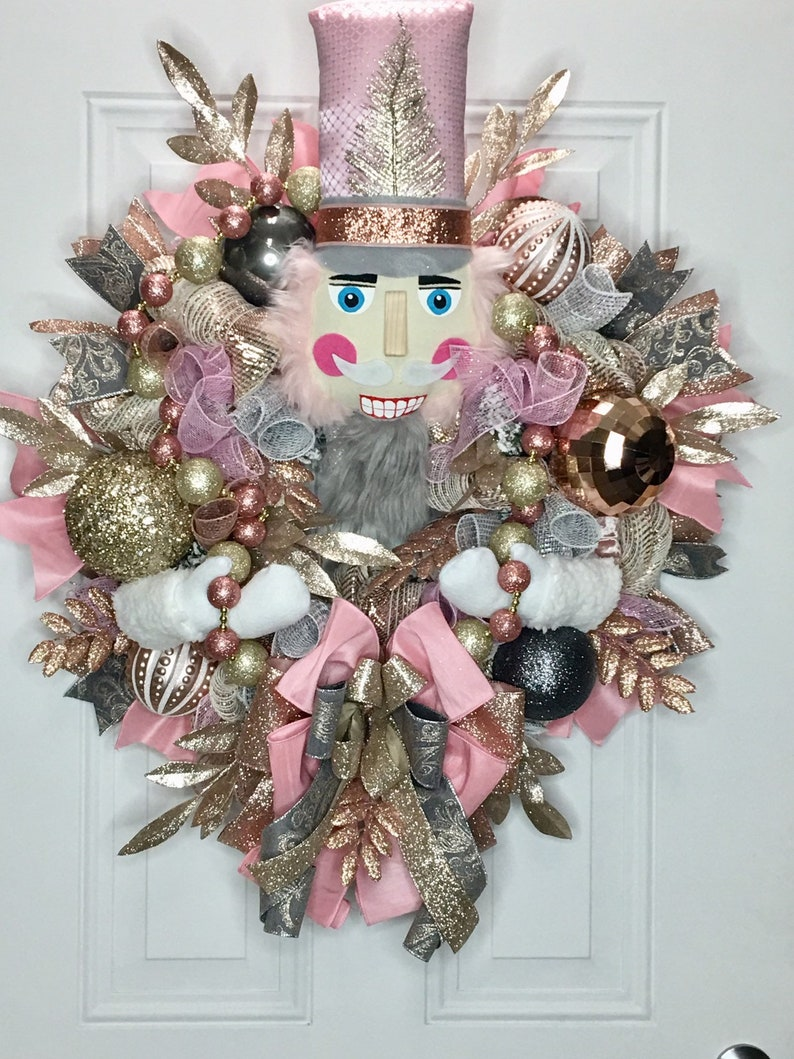 Rose Gold Nutcracker Wreath, Christmas Nutcracker Wreath, Nutcracker Decor,  Elegant Christmas Wreath, Whimsical Christmas Wreath,
