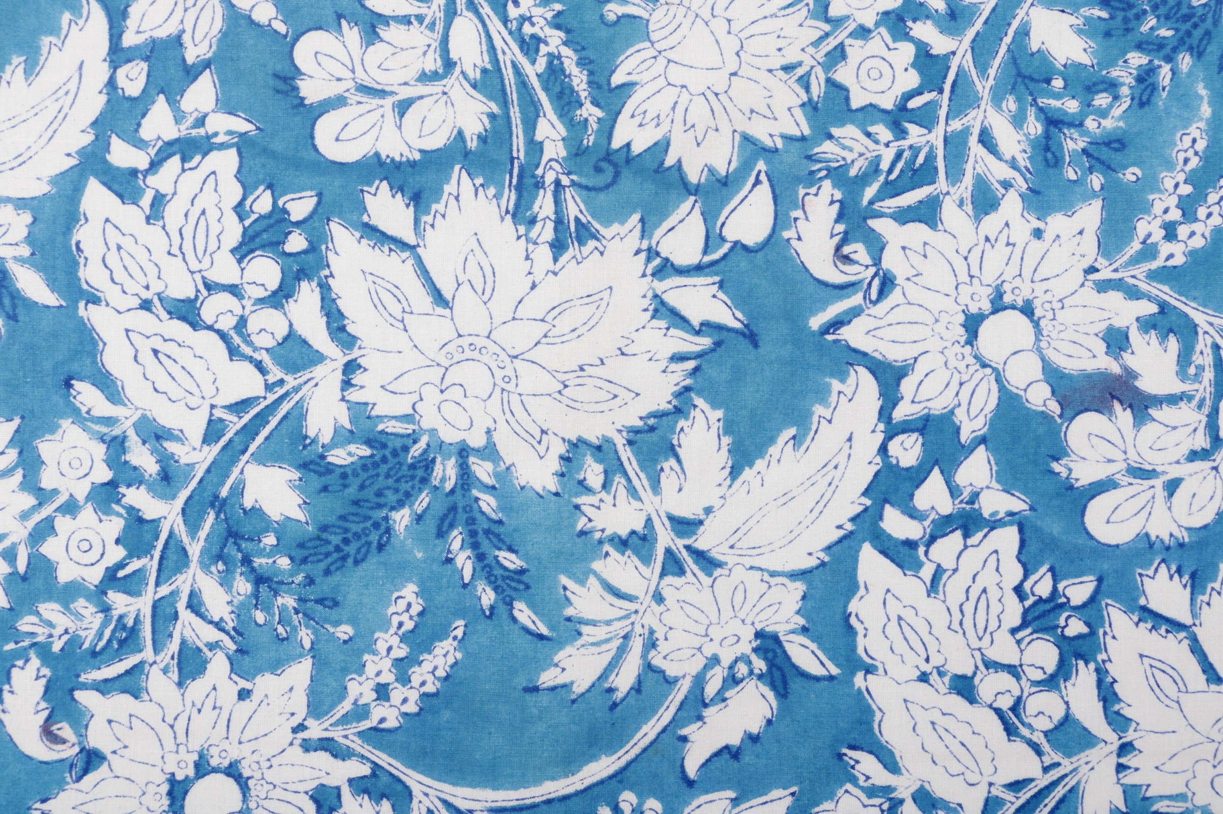 One yard of blue floral printed cotton fabric,cotton fabric for summer dresses,Indian cotton fabric by the yard