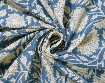 Beautiful Hand Block Printed Blue Fabric, Cotton Fabric, Indian Fabric, fabric by yard, Block Printed Cotton womens clothing robe