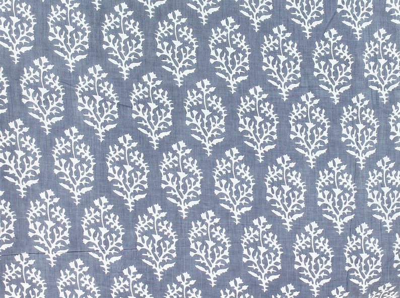 Screen Printed bohemian Cotton Fabric boho Summer Dress Fabric Indian cotton fabric by Yard quilting sewing cotton grey and white fabric
