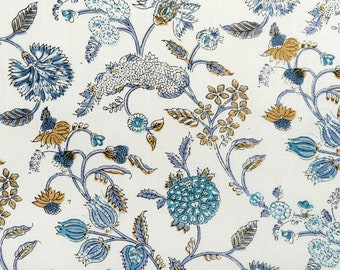 Blue White Beautiful Hand Block Printed Floral Fabric, Cotton Fabric, Indian Fabric, fabric by yard, Block Printed Cotton womens clothing