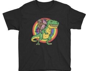 9cdd2fc5d49de Funny Sloth and Unicorn Riding T-Rex Shirt, Sloth, Unicorn Lover Gift, Funny  Trex Shirt, Dinosaur Shirt Boys, Animal Boys Girls Youth TShirt