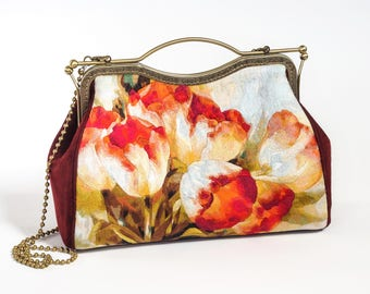 Luxury handmade leather bag with unique two-sided satinstich embroidery