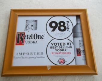Wood framed Ketel One, voted best vodka advertising