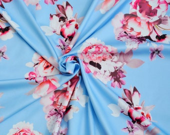 """High Quality 60/"""" Spring Scuba Jersey Stretch Fabric Floral Leaves on Blue"""