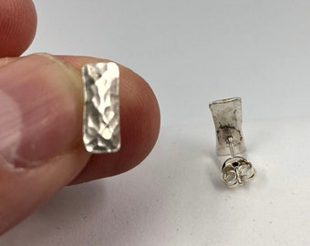 Textured Eco-Sterling Silver Earring studs - A Handmade everyday earring that looks elegant and stylish.