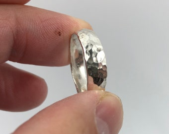 Half & Half Textured ring in Eco Sterling silver. Handmade to order and size upon request. Simple, Beautiful, unique.