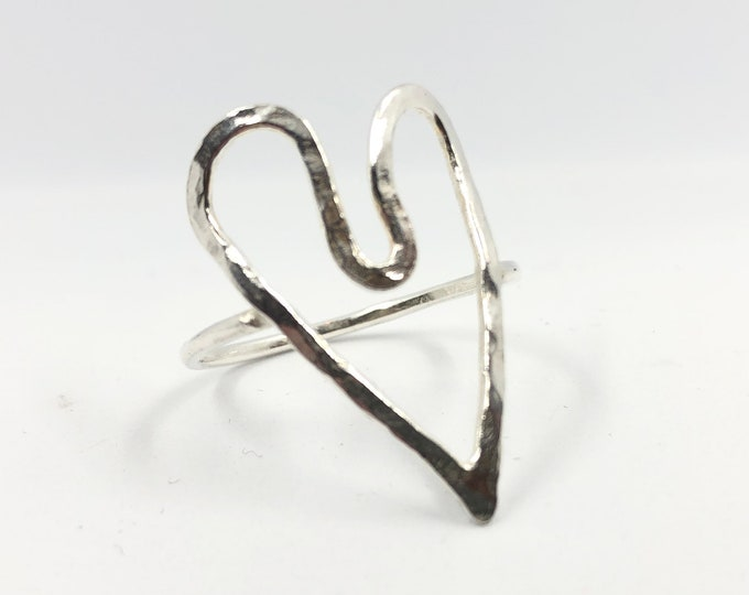 Wonky Heart Textured Ring. Thumb or finger ring can be made to order and any size. [This one is Size - UK Y] Handcrafted Eco Sterling Silver