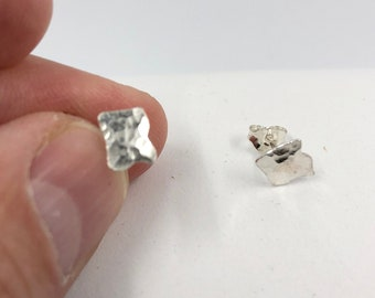 Textured 'Zig-Zag' Square Eco-Sterling Silver Earring studs - A Handmade everyday earring that looks elegant and stylish.