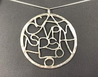 Family Tree Pendant - Designed and handmade to order. Unique design incorporating all family members 'initials' crafted in sterling silver.