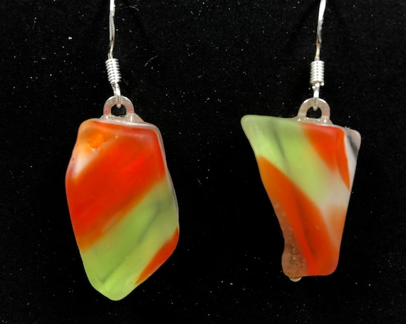 1970's Fused Glass Earrings. Made from a vintage glass bowl!