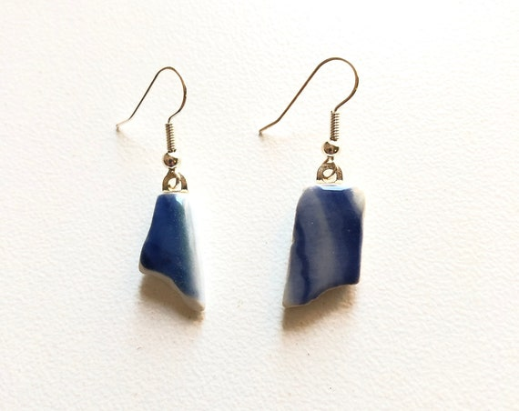 Japanese Sea Pottery Fishhook Earrings. Handmade & totally unique. Choice of Sterling Silver or Silver plated
