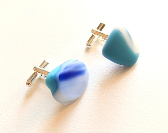 Fused glass Cufflinks. Handmade from an original 70's fused glass plate. Completely different to anything on the market.