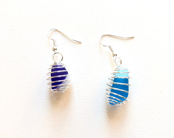 1970's Fused Glass Earrings. Handmade & totally unique upcycling.