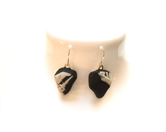 Rare Black Wedgwood drop earrings. Each item is handmade from salvaged Original Wedgwood. Choice of Sterling Silver or Silver plated