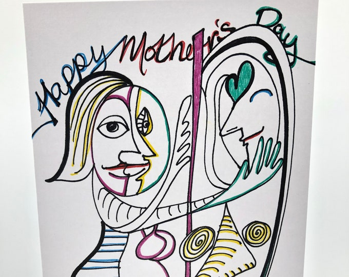 Hand drawn 'Mothers Day' card based upon Picasso's 'Mirror Woman' painting. Personalized with name, messages & icons you want.