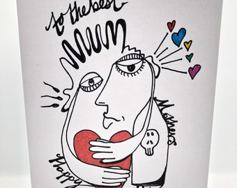Hand drawn 'to the best mum' card based upon Picasso and surrealist paintings. Personalized with name, messages or a celebration you choose.