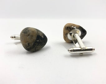 Sea Pebble Cufflinks with silver plated fixing. Handmade & totally unique. The perfect gift for no one else has!