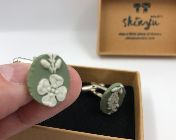 Recycled Green Jasperware Wedgwood Cufflinks. Each item is handmade from a salvaged piece of Original Wedgwood. Absolutely unique!