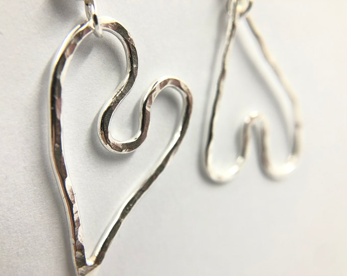 I give you my Heart, Eco-Sterling drop earrings - Handmade, each piece is unique - own a little piece of history.