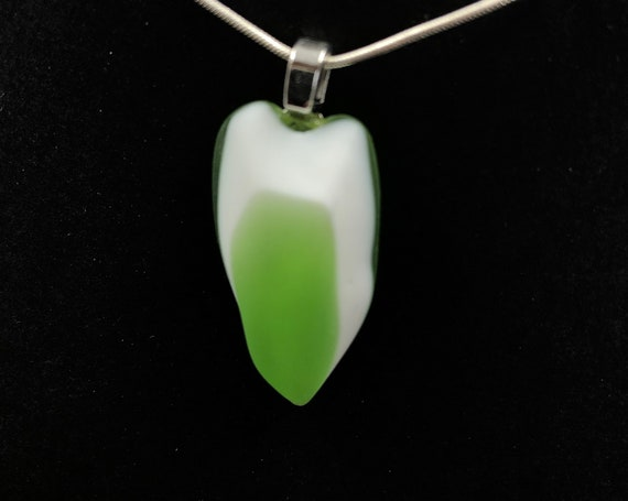 1970's Fused glass pendant. Handmade from a vintage 'Swan' shaped glass bowl!