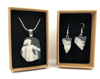 Rare Black Wedgwood 'Ghostly' necklace and earrings. Each item is handmade from salvaged artisan neoclassical pottery. Very Unique!