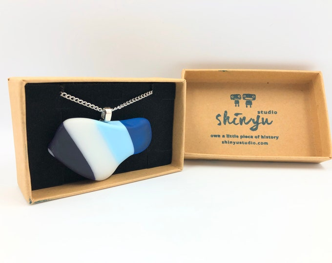 1970's Fused glass pendant. Handmade from a vintage glass plate! The eco friendly gift helping save the planet.