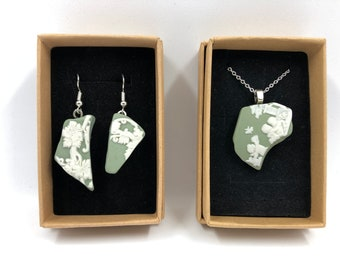 Wedgwood 'cherubs' pendant necklace and Earrings. Handmade from Original Green Jasperware. The Ultimate gift helping to save our planet.