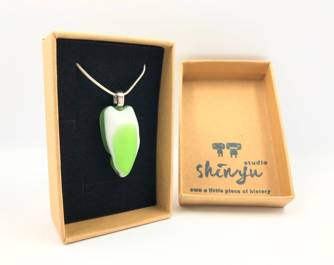 Vintage Fused glass pendant. Handmade from an original 1970's 'Swan' shaped glass bowl! The eco friendly gift helping save the planet.