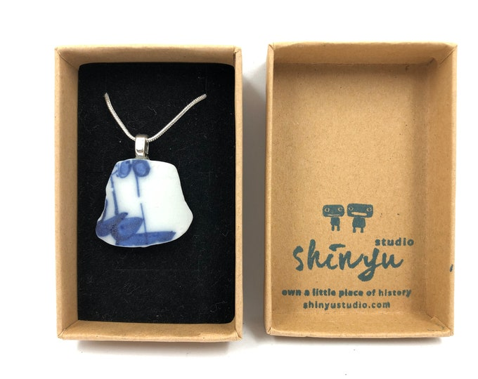 Japanese Sea Pottery Pendant. Handmade & totally unique. Recycled, Re purposed, Re crafted. The perfect eco friendly gift to save our planet