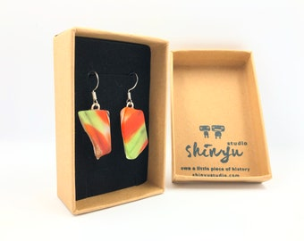 Vintage Fused Glass Earrings. Re designed from a 1970's British glass bowl. The eco friendly gift helping save the planet.