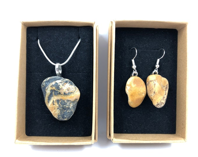 Sea Pebble Necklace & Earrings. Salvaged from Dartmouth beaches and handcrafted into beautiful organic jewellery. The Eco friendly gift.