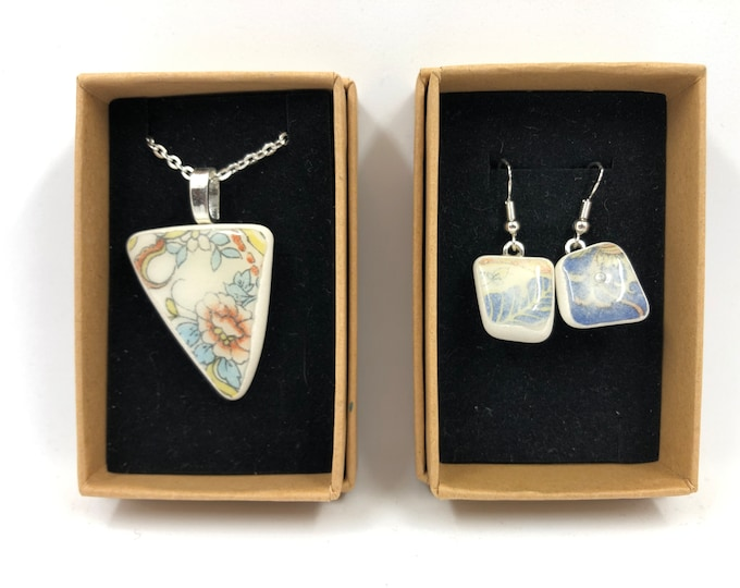 Organic Necklace & Earrings. Simple, natural design salvaged from a vintage vase. Repurpose, Recycle and help save our planet.