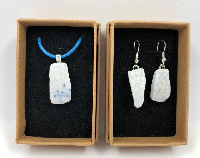 Crackle Glaze Necklace & Earrings. Handmade from a salvaged staffordshire ware. Repurpose, Recycle - save our planet.