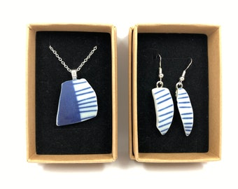 Blue & White Ceramic necklace and Earrings. Each is repurposed from an unloved British Ceramic Tumbler.
