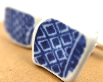 Blue willow Cufflinks. Handmade from an original, salvaged Minton 'Blue Willow' plate. Organic and eco friendly feel - perfect gift!