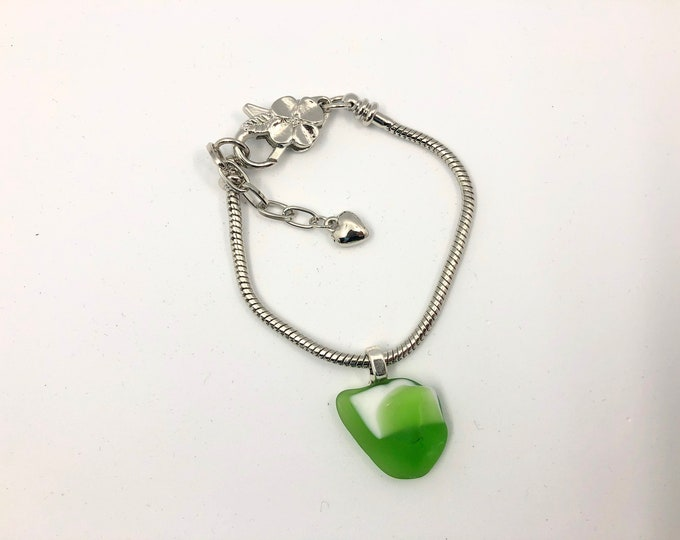 British Vintage Glass charm on silver plated Bracelet. Handmade from an original 70's fused glass 'Swan'!. Completely unique.