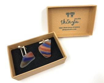 Recycled Vintage glass Cufflinks. Handmade from a 70's blown glass 'Fish' - with silver plated cufflink. Fun. Funky & helps save the planet!