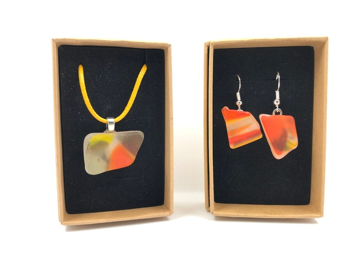 Murano Glass necklace and Earrings. Each is handmade from an original salvaged Murano style Glass bowl.