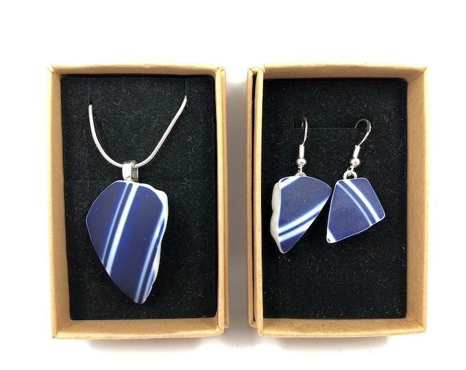 Blue Ceramic necklace and Earrings. Each is repurposed from an unloved British Ceramic ornament.