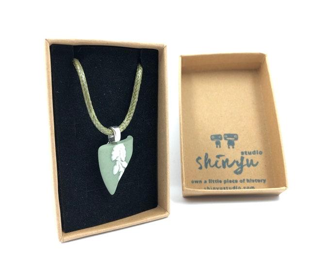 Green Jasperware Wedgwood necklace. Each item is handmade from salvaged Original Wedgwood. Very Unique!