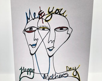 Hand drawn 'Me and you' card based upon Picasso and surrealist paintings. Personalized with name, messages or a celebration you choose.