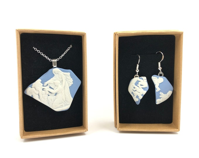 Jasperware Wedgwood necklace and Earrings. Each is handmade from salvaged Original Jasperware. The Ultimate gift helping to save our planet.
